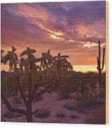 Pretty In Pink Desert Skies  Wood Print