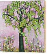 Pretty In Pink Paradise Tree Wood Print