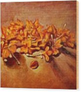 Pretty Little Orange Flowers - Kankaambaram Wood Print