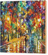 Pretty Night - Palette Knife Oil Painting On Canvas By Leonid Afremov Wood Print