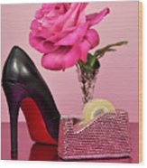 Pretty Pink Bling Office Accessories Wood Print
