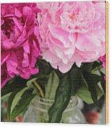 Pretty Pink Peonies In Ball Jar Vase Wood Print
