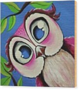 Pretty Pinky Owl Wood Print