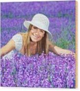 Pretty Woman On Lavender Field Wood Print