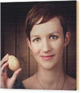Pretty Young Brunette Woman Holding Hatching Egg Wood Print