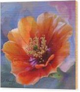 Prickly Pear Bloom Wood Print