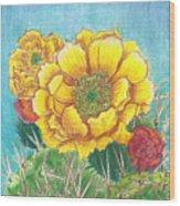 Prickly Pear Cactus Flowering Wood Print