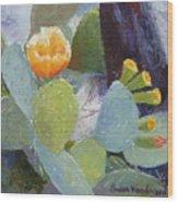 Prickly Pear In Bloom Wood Print