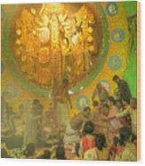Priest Distributing Flowers For Praying To Goddess Durga Durga Puja Festival Kolkata India Wood Print