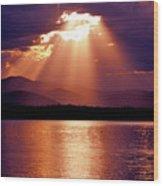 Priest Lake Sunset Heavenly Light Wood Print