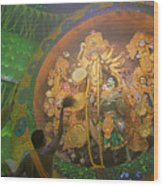 Priest Praying To Goddess Durga Durga Puja Festival Kolkata India Wood Print
