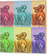 Primary Bunnies Wood Print