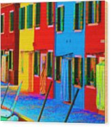 Primary Colors Of Burano Wood Print