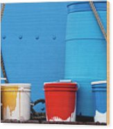 Primary Colors - Paint Buckets On A Ship Wood Print