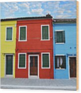 Primary Colors Too Burano Italy Wood Print