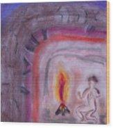 Primitive Man Fireside Wood Print