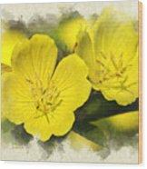 Primrose Flowers Blank Note Card Wood Print