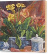 Primroses And Blue China Wood Print