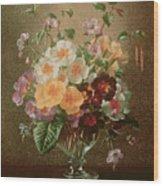 Primulas In A Glass Vase  Wood Print
