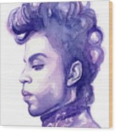 Prince Musician Watercolor Portrait Wood Print