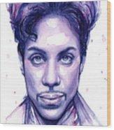 Prince Purple Watercolor Wood Print