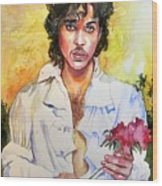 Prince Rogers Nelson Holding A Rose Wood Print