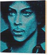 Prince - Tribute In Blue Wood Print