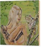 Princess And Frog Wood Print