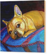 Princess And Her Pillow French Bulldog Wood Print by Lyn Cook