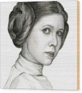 Princess Leia Watercolor Portrait Wood Print
