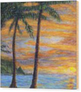 Princeville Beach Palms Wood Print