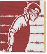 Prisoner Blindfolded Wood Print