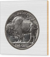 Pristine Buffalo Nickel On White Background  Wood Print