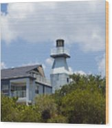 Private Lighthouse On The Indian River Lagoon In  Melbourne Florida Wood Print