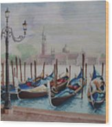 Parking Gondolas In Venice Wood Print by Charles Hetenyi