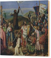 Procession Of Crusaders Around Jerusalem Wood Print by Jean Victor Schnetz