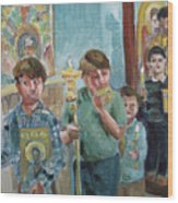 Procession With Icons Wood Print