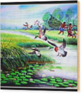 Artistic Painting Photo Flying Bird Handmade Painted Village Art Photo Wood Print