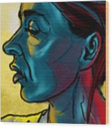 Profile In Blue Wood Print