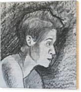 Profile Of A Black Woman Wood Print