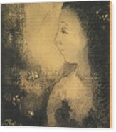 Profile Of A Woman With Flowers Wood Print
