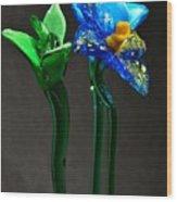Profile Of Glass Flowers Wood Print