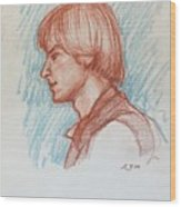 Profile Of Youth Wood Print