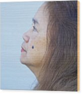 Profile Portrait Of A Lovely Filipina With A Mole On Her Cheek   Wood Print