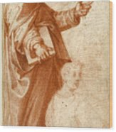 Profile Study Of A Standing Saint Holding A Book With Subsidiary Studies Of Three Additional Figures Wood Print