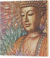 Proliferation Of Peace - Buddha Art By Christopher Beikmann Wood Print