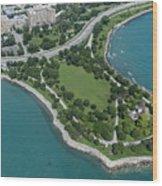 Promontory Point In Burnham Park In Chicago Aerial Photo Wood Print
