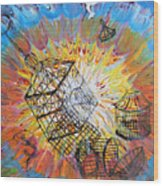 Prophetic Message Sketch 30 Set Free Wood Print by Anne Cameron Cutri