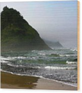 Proposal Rock At Neskowin Beach Wood Print