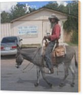 Prospector Re-enactor With Burro Passing Rose Bush Museum Sign Tombstone  Arizona 2004 Wood Print